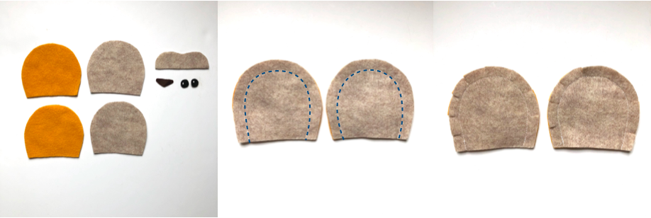 To show cut out pieces of lion hat pattern and to sew ears