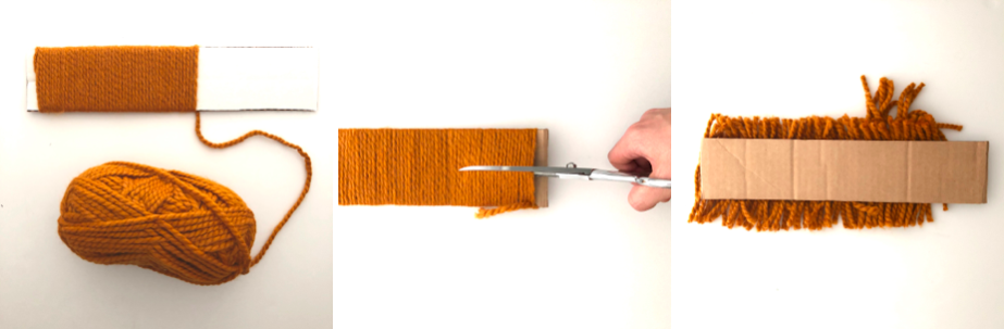 to show how to cut same length yarn strands for lion mane