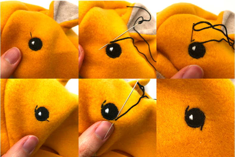 to show how to hand embroider eyes for lion hat