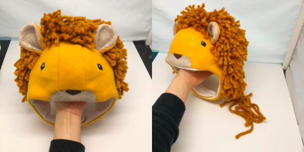 to display lion hat with mane, and to adjust mane accordingly if needed