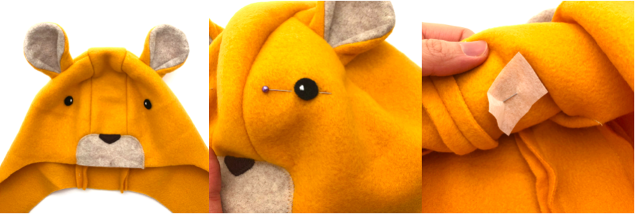 to show how to sew eyes onto hat for lion hat