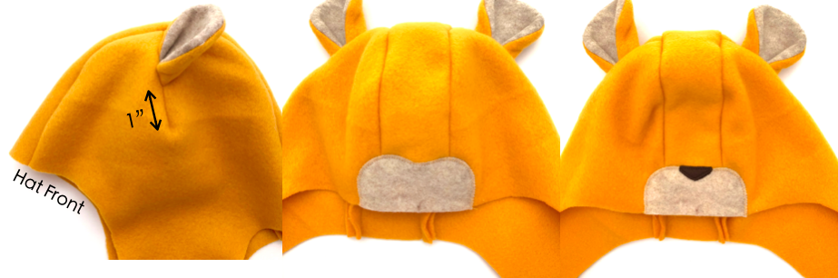 to show how to sew ears onto hat for lion hat