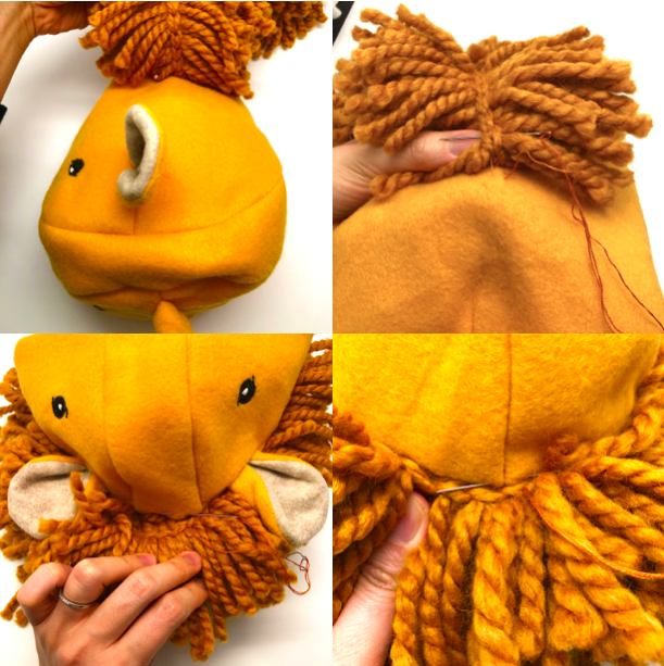 to show how to sew mane onto hat for lion hat