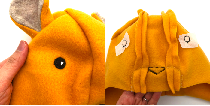 to show how to stitch down eyes for lion hat