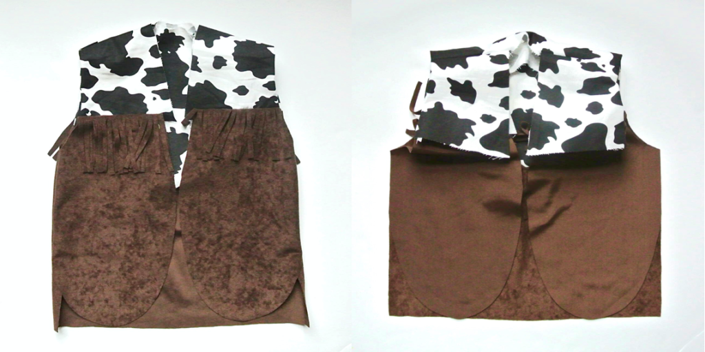 To show Lining Partially Sewn in Cowboy Vest DIY