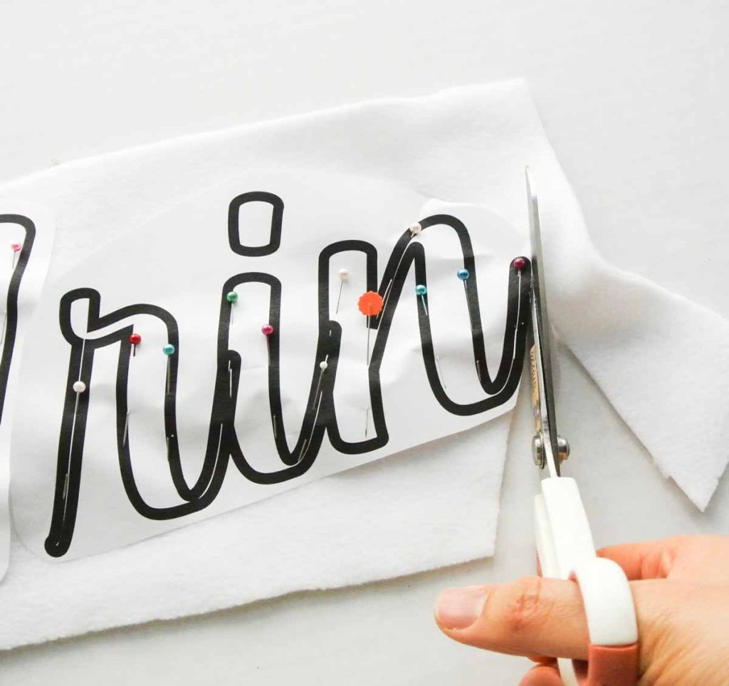 Cutting out Applique Letters on Printout and Fabric