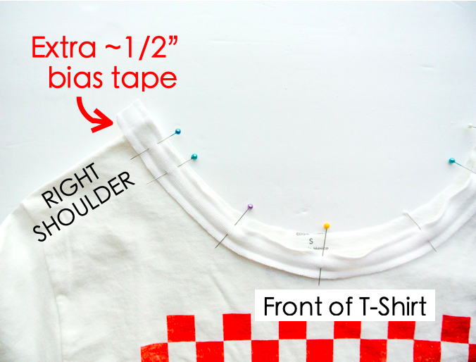 How to alter crew neck t shirt neckline. Pinning bias tape to neckline