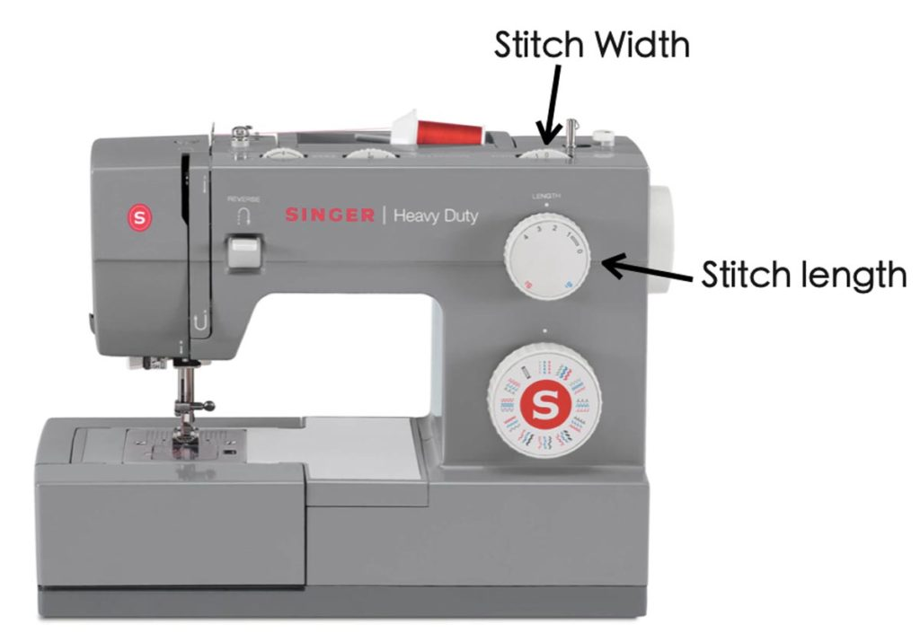 Singer 4452 Heavy Duty Sewing Machine With labels for stitch width and stitch length