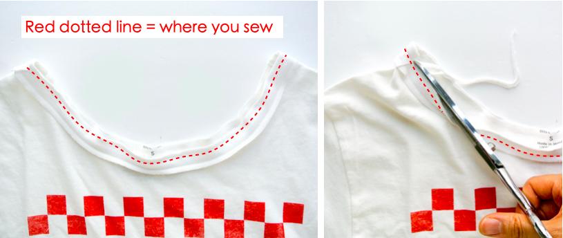 How to alter crew neck t shirt neckline. Sewing bias tape to neckline