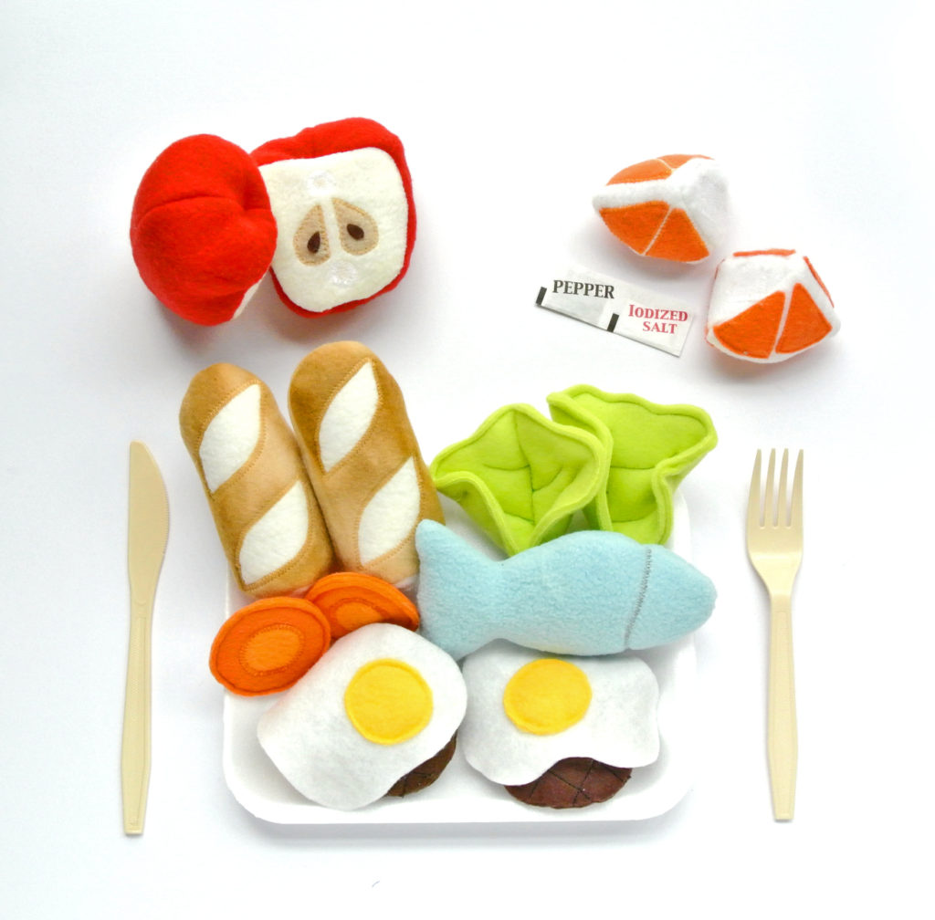 Pretend Play Food Set with fish, lettuce, fried eggs, burger patties, baquette, orange, and apples