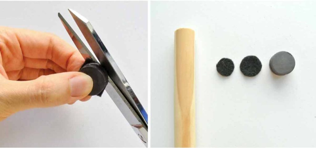 Shows Hands cutting black felt to make magnetic fishing rod for kids