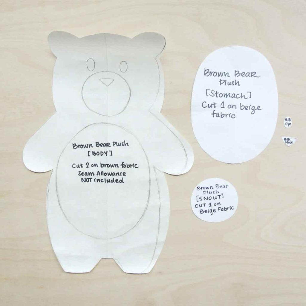 Shows Finished Bear Plushie Pattern  without added seam allowance. How to Make Plushie Tutorial