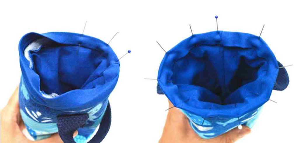 How to make DIY insulated water bottle holder bag carrier pinning bias tape over top of water bottle bag