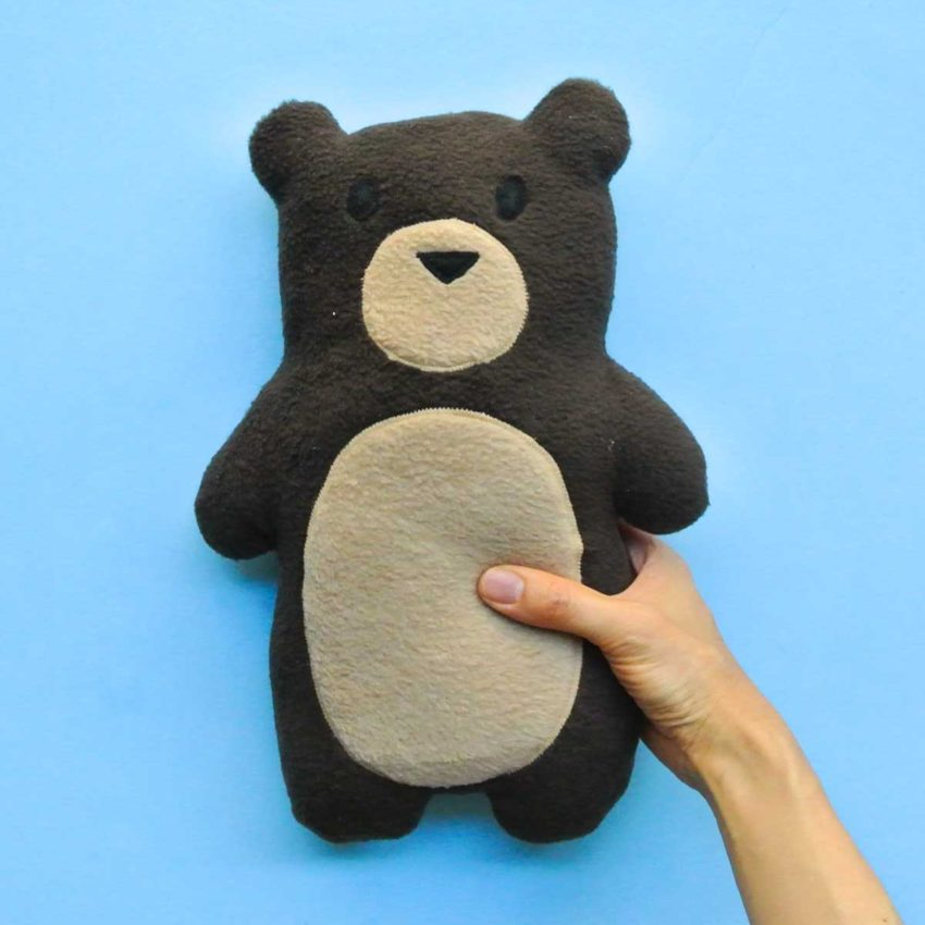 Finished DIY Homemade Plush Bear with Hands holding it