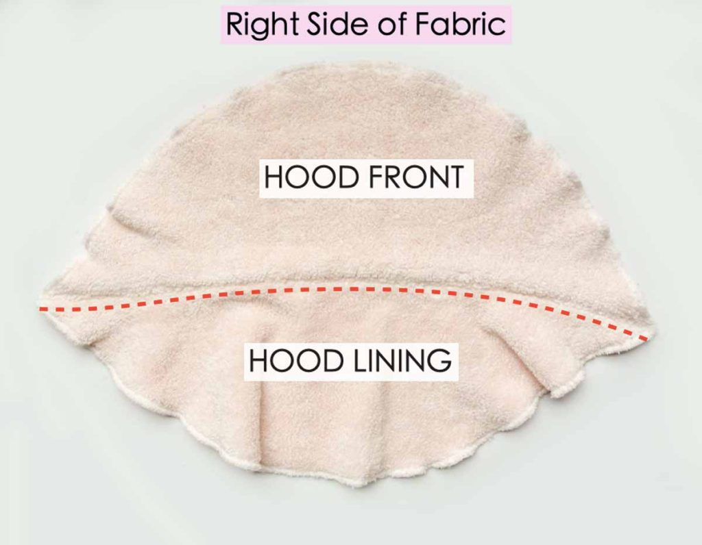 Shows Hood Front and Hood Lining sewn together with red dotted line indicating top stitch done on hood lining. View of Right side of fabric. How to make Kids baby toddler hooded towel Tutorial