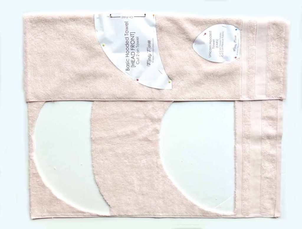 Cutting Out Hooded Towel Pattern Pieces. How to Make Kids Baby Toddler Hooded Towel