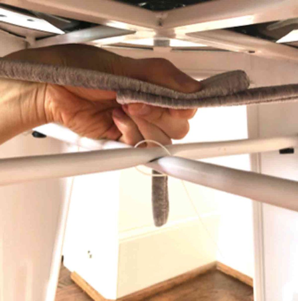 Determining where to put velcro on velcro ties underneath bar stool