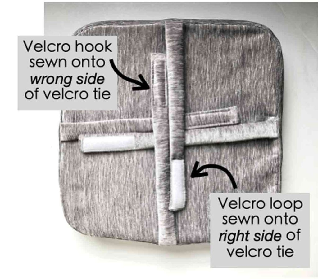 Sewing Velcro onto bar stool cushion velcro ties