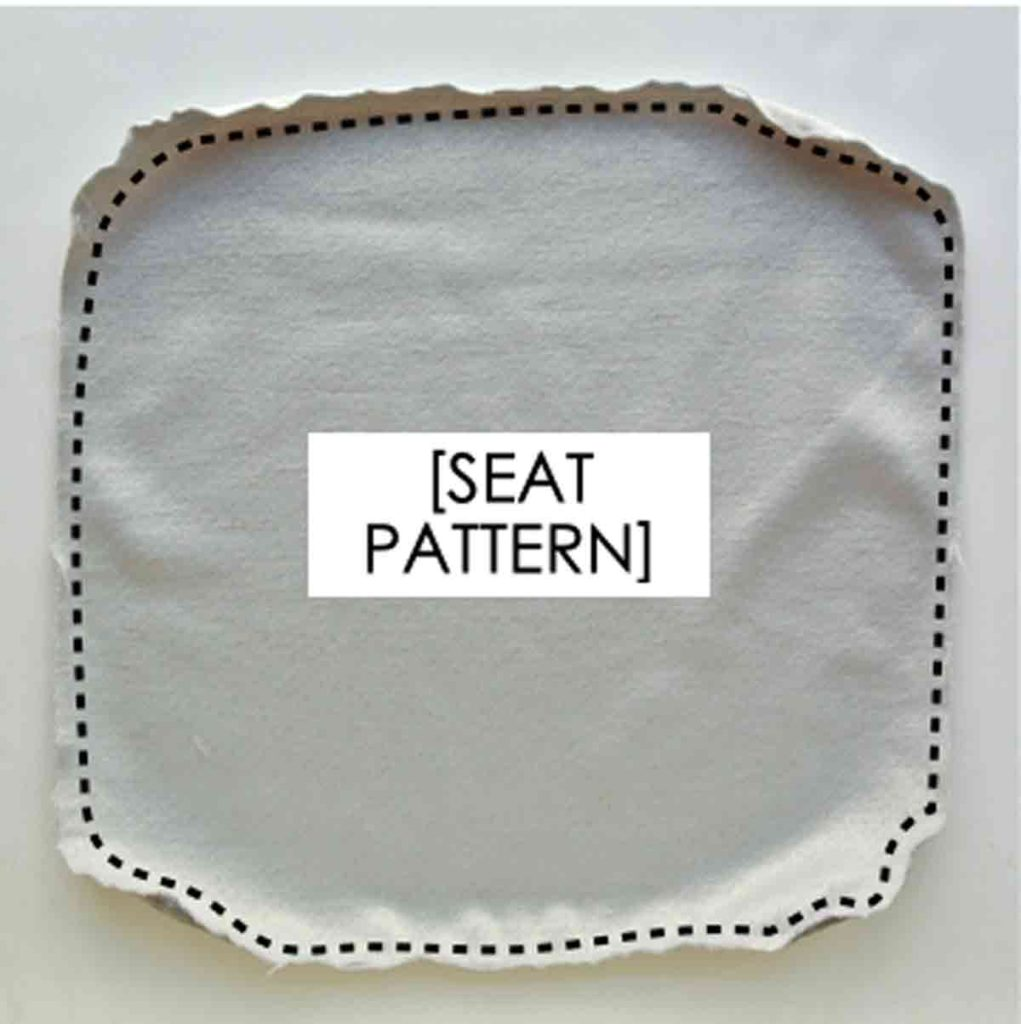 Shows Bar Stool Seat Cushion Fabric Stay Stitched. How to Make Square Bar stool cushion with ties
