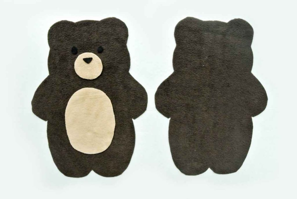 Front and back of Bear Plush with Accessory Pieces (eyes, nose, snout, belly) in place. How to Make Plushie Tutorial
