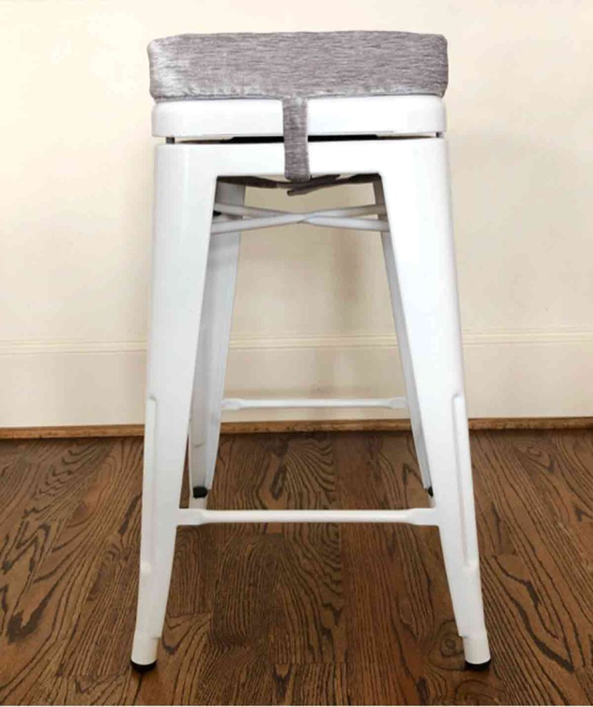 Shows bar stool with a removable bar stool cushion finished view