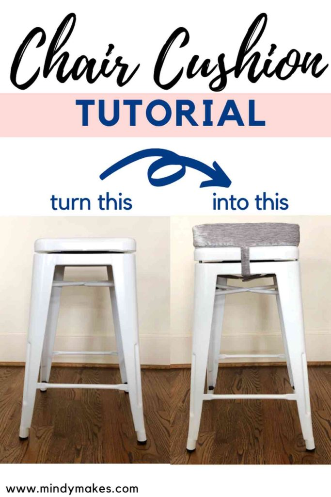 Pinterest Image How to Make Square Bar Stool Padded Seat Cushion With Ties