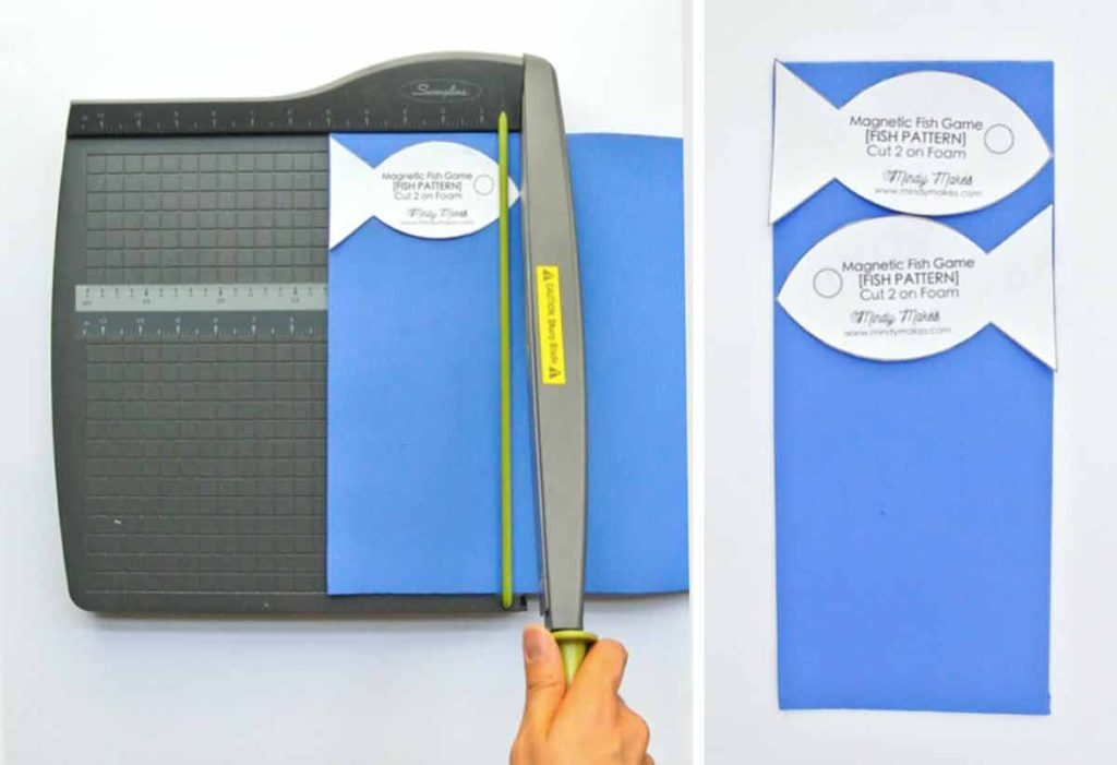 DIY Magnetic Fishing Game Cutting Foam with paper cutter and laying Fish Pattern On Cut Blue Foam