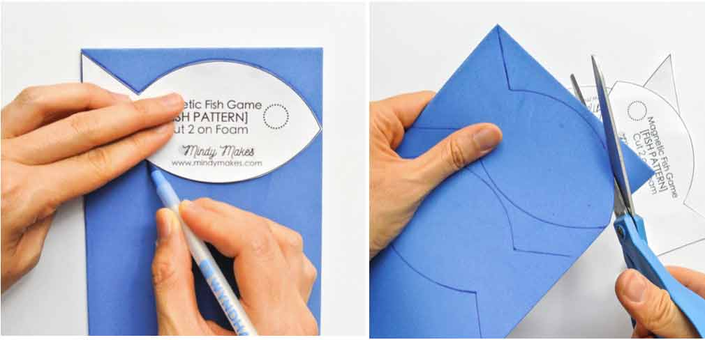 DIY Magnetic Fishing Game Tracing FIsh Pattern on Foam and Cutting Fish Pattern