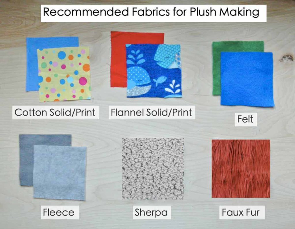 Shows recommended types of fabric for plush making including cotton solid and print, flannel solid and print, felt, fleece, sherpa, and faux fur fabrics