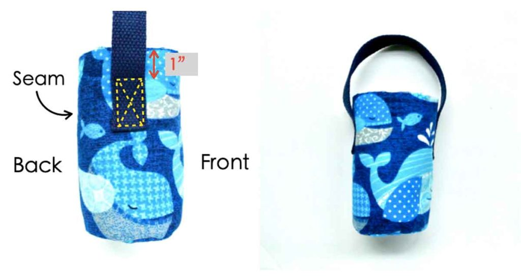 How to make DIY insulated water bottle holder bag carrier Sewing strap handles to water bottle bag