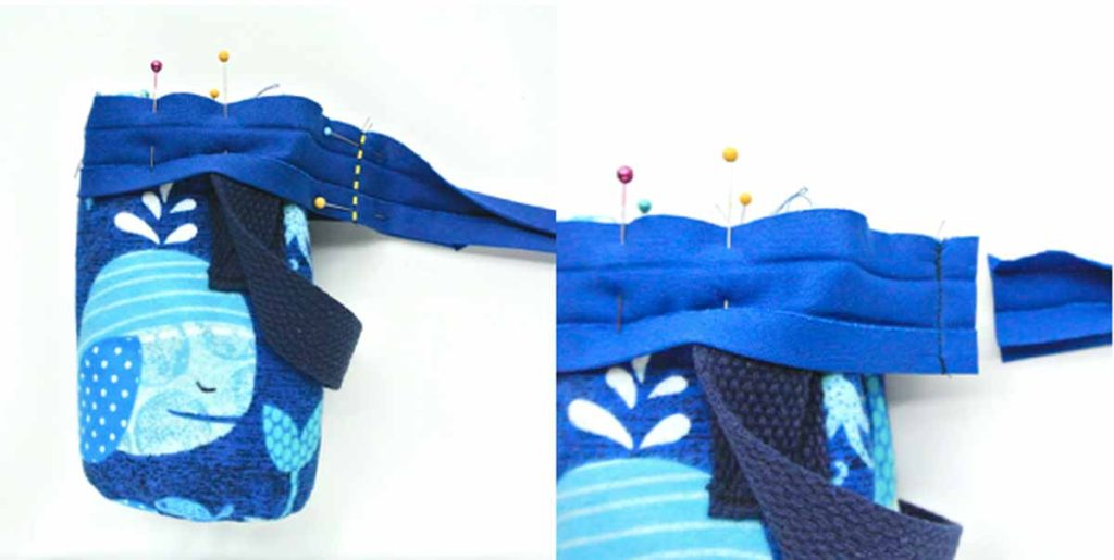 How to make DIY Insulated Water Bottle Holder Bag Carrier Joining Bias strip together