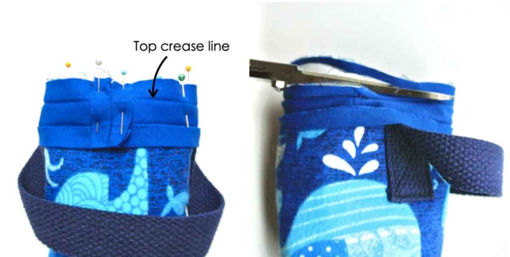 How to make DIY insulated water bottle holder carrier bag sewing bias tape around top of water bottle bag