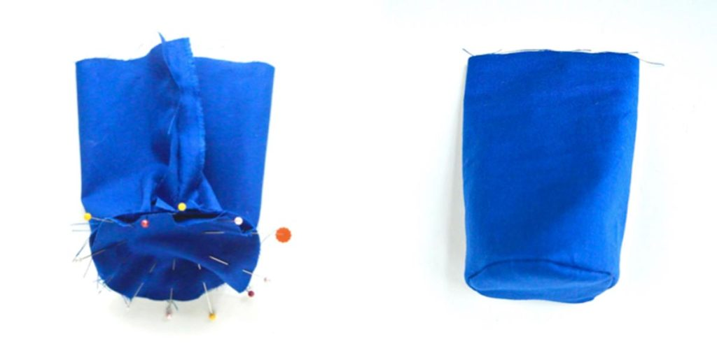 How to make DIY water bottle holder carrier bag sewing bottom of water bottle lining to sides