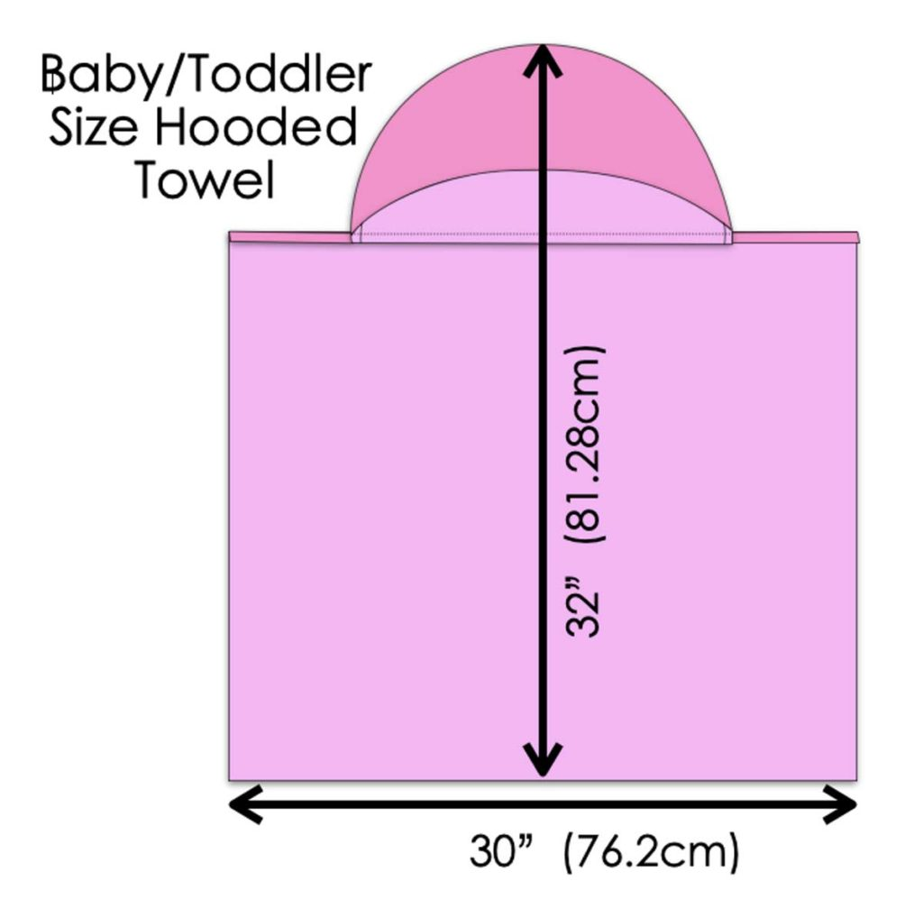 Diagram showing size of baby/toddler size hooded towel. How to make Hooded Towel for Kids Tutorial