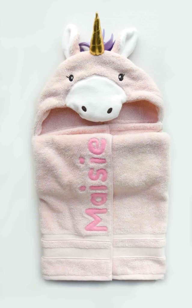 DIY Unicorn Hooded Towel Finished with Fabric Letter Applique Name