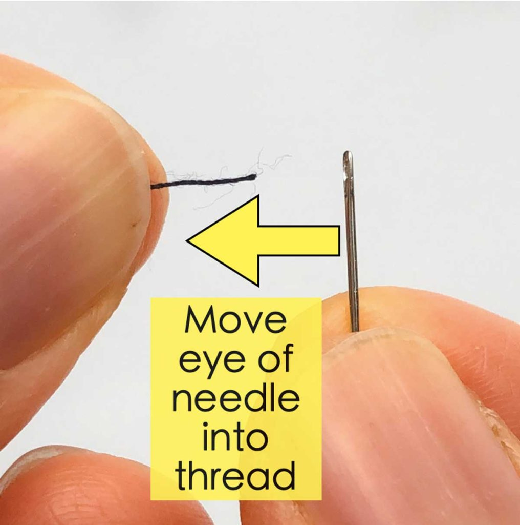 """Hand holding thread and needle with text overlay and arrow saying """"move eye of needle into thread"""""""