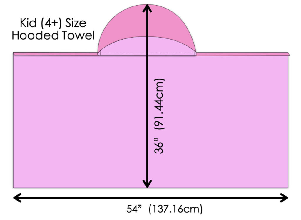 Diagram with Measurement of Kid Size Hooded Towel. How to Make Hooded Towel for Kids Tutorial.