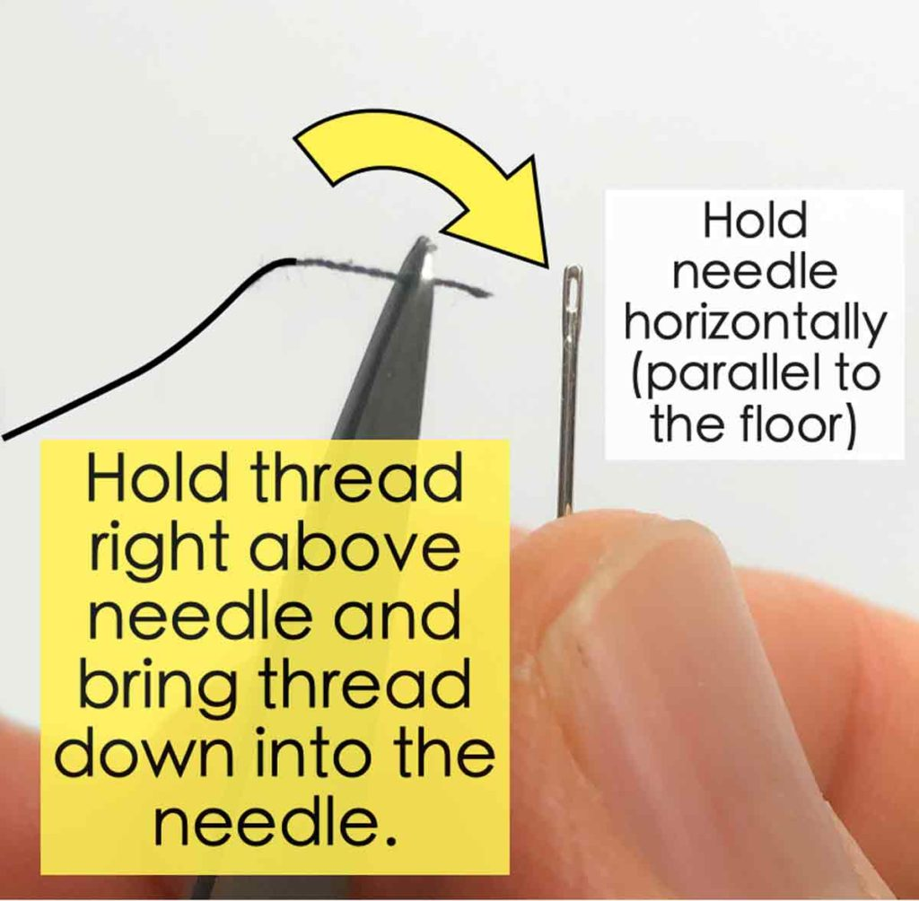 How to thread needle using tweezers, bringing thread into needle from above