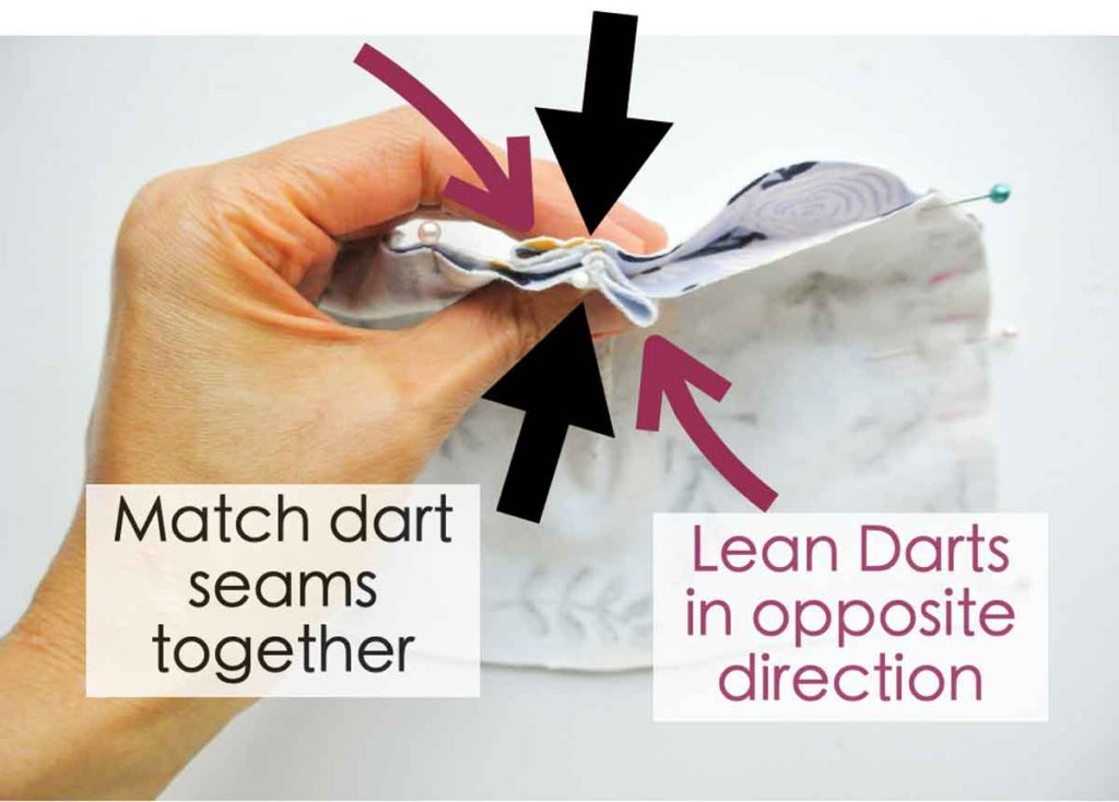 Pinning two dies of Knotted bow baby hat together, matching at darts and leaning darts in opposite sides