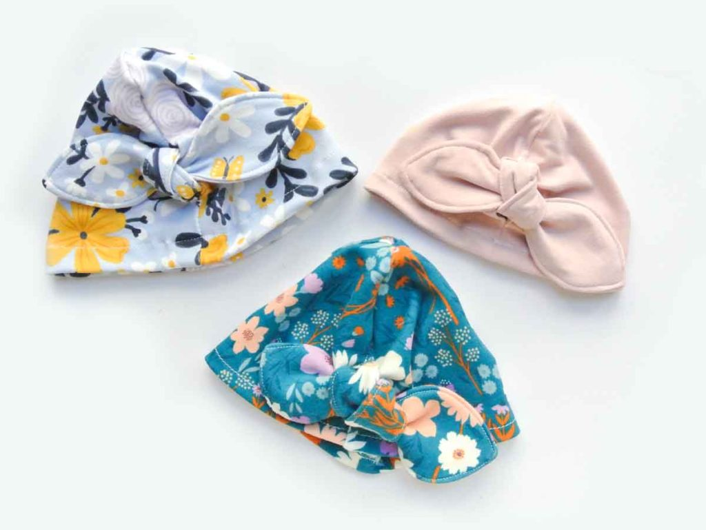 Shows finished knotted bow baby turban hats (3)