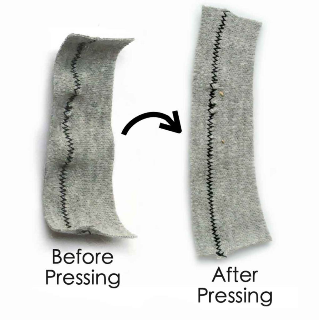 Comparison of zigzag stitch on knit fabric before (left) and after pressing (right)