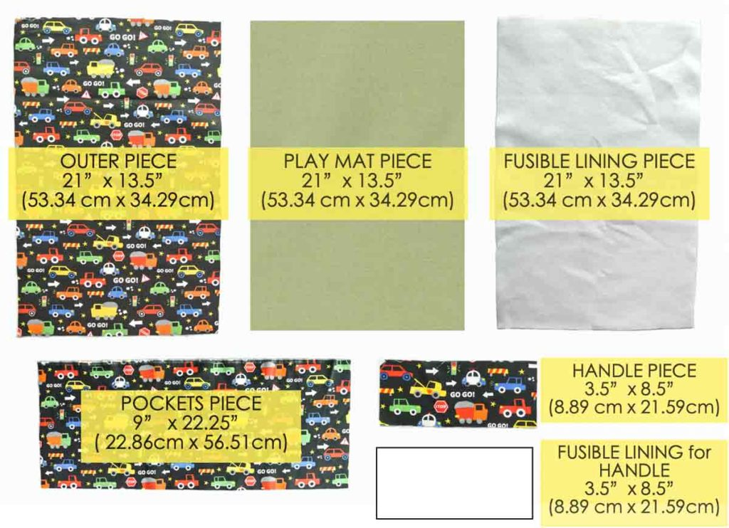 Shows Pattern Pieces of DIY Car Wallet with Play Mat, with text overlay of pattern piece sizes
