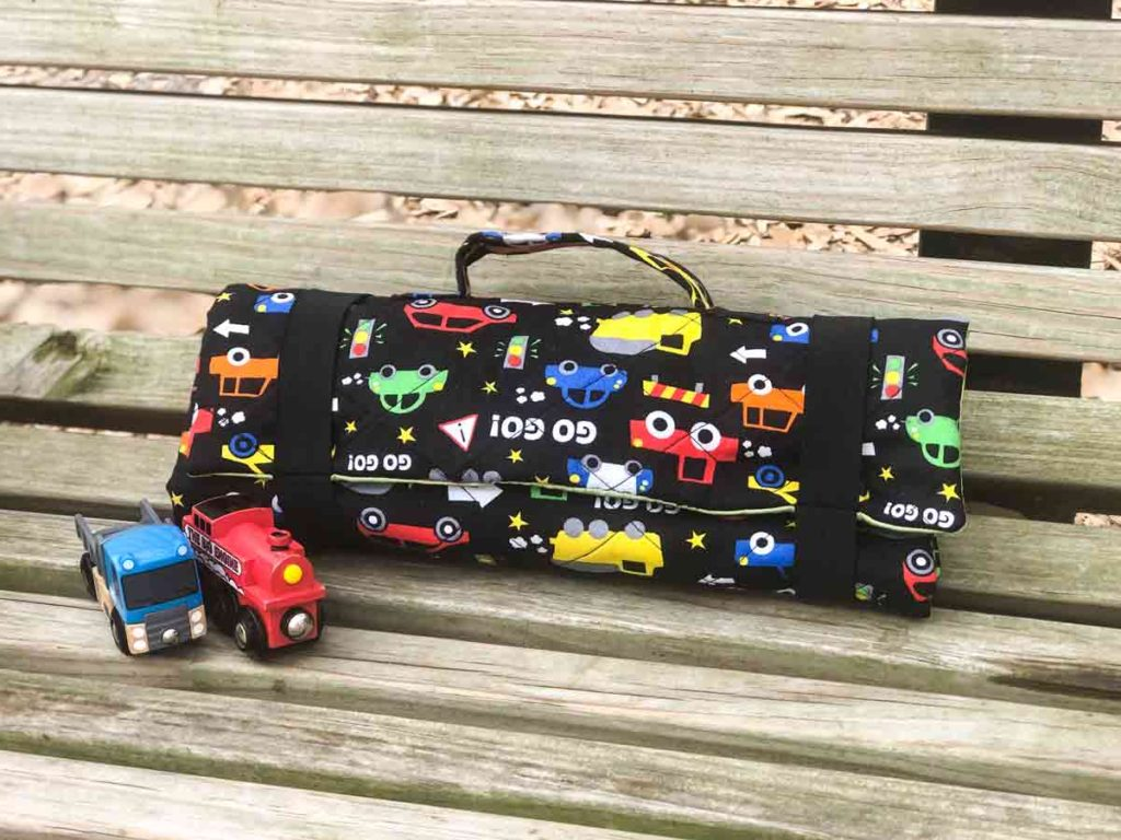 DIY Toy Car Carrier Play Mat Finished and rolled up