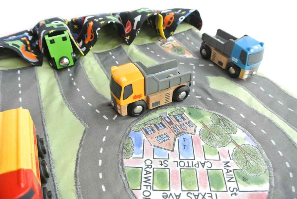 DIY Toy Car Carrier Play Mat Finished with toy trucks