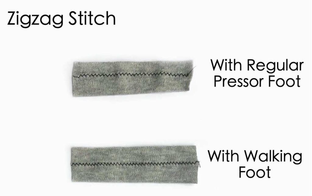 Shows using regular pressor foot versus walking foot for zigzag stitch on knit fabric. How to sew knit fabric