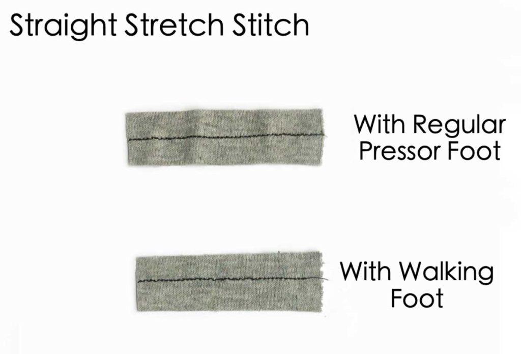 Using regular pressor foot versus walking foot on straight stretch stitch. How to sew knit fabric