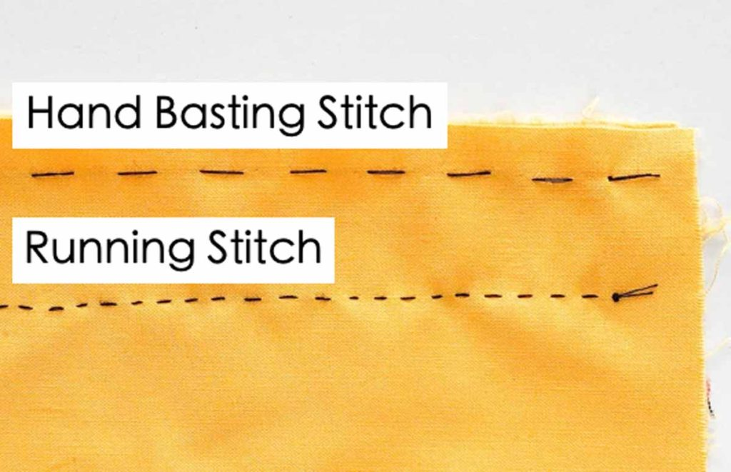 Shows Different between basting stitch and running Stitch