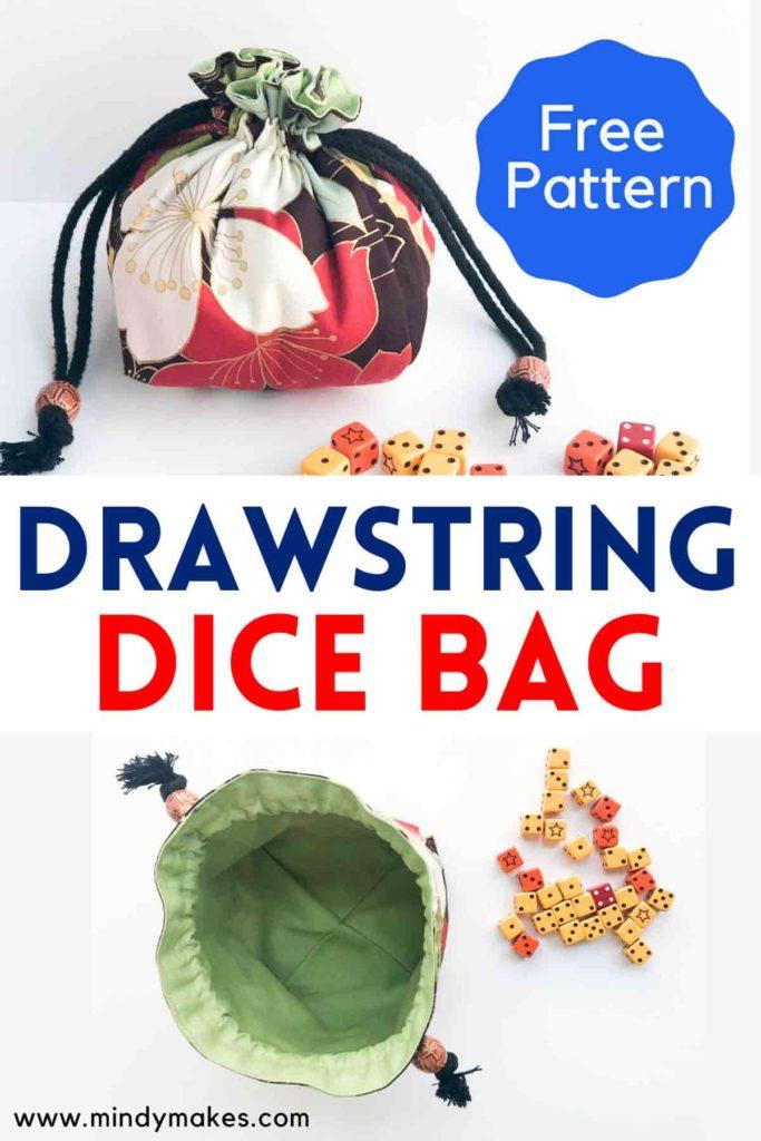 DIY Drawstring Dice bag Free Pattern Pinterest Image