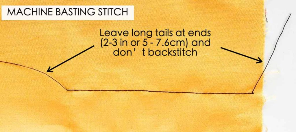 Diagram of machine basting stitch, with long tails at the ends and no backstitching