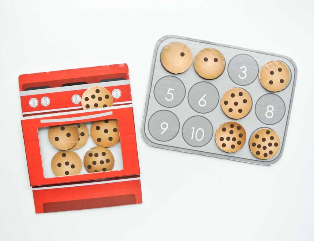 Finished Toddler Cookie Counting activity free printable